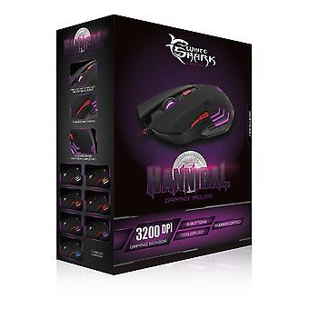 White Shark GM-1602 3200dpi Gaming Mouse-Black (HANNIBAL BLACK)