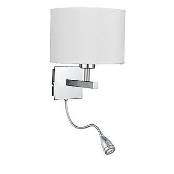 Soporte de pared brazo doble cromo con brazo flexible de LED - reflector 3550CC