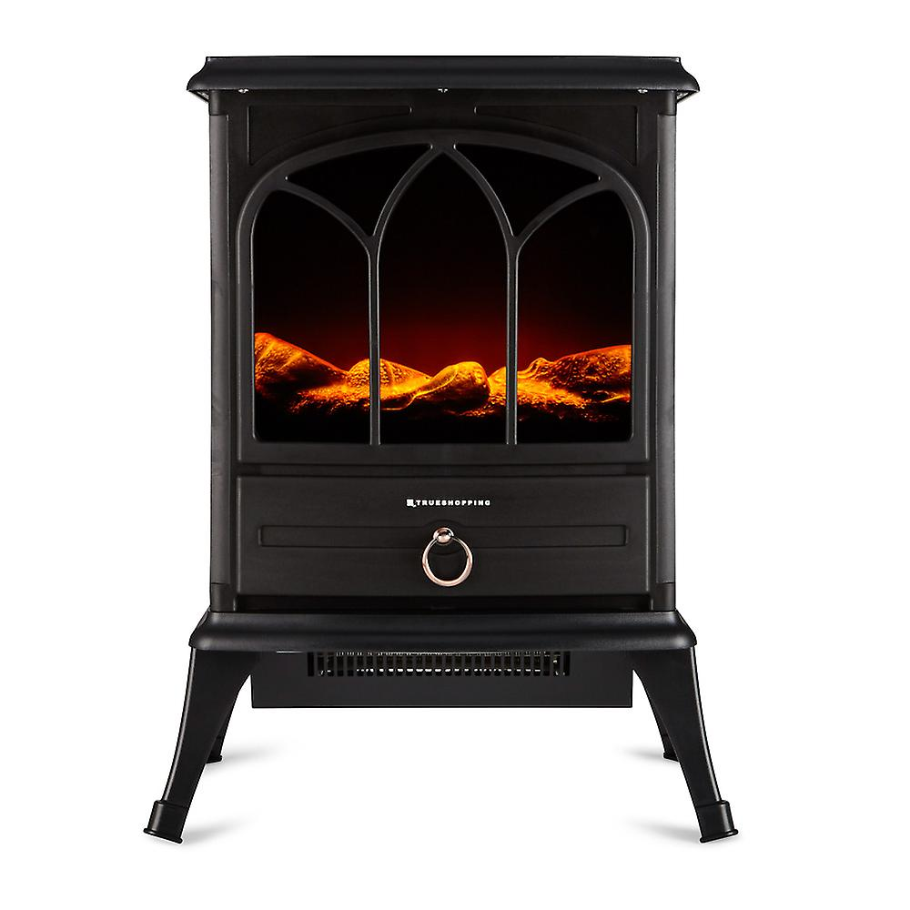 Freestanding Electric Wood Burning Flame Effect Fireplace Width 50cm 180W Black