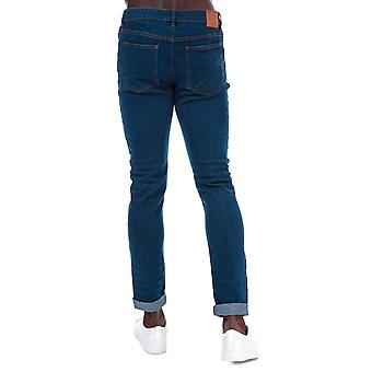 Mens Ringspun Zeus Ripped Skinny Fit Jeans In Blue- Zip Fly- Five Pocket Design-