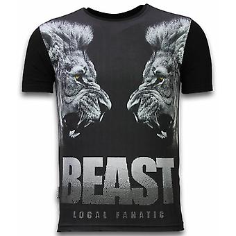 Beast-Digital Rhinestone T-shirt-Black