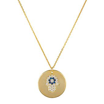 Hamsa Polished Disc Pendant Necklace Gold Hand Charm Gemstone 925 Gift Chain