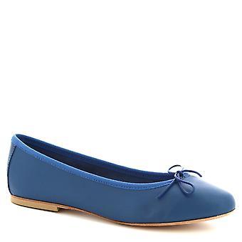 Leonardo Schuhe Frauen 's handgemachte Ballett Wohnungen Schuhe blau Kobalt Kalbsleder