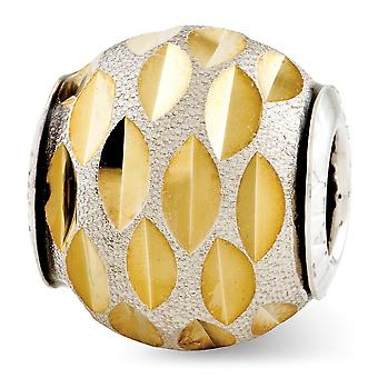 925 Sterling Argent Poli Antique finition Reflections Velvet Gold-Flashed Sparkle-Cut Bead Charm