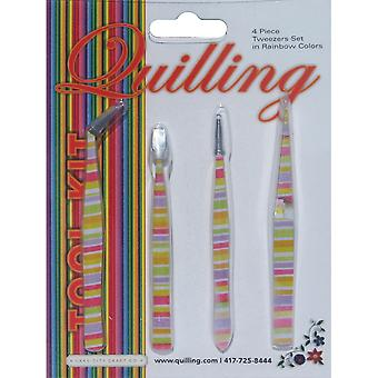 Tweezer Set 4 Piece Rainbow Q190