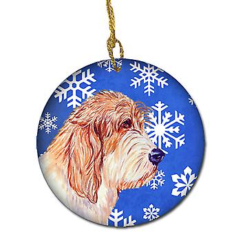 Petit Basset Griffon Vendéen Winter Snowflake Holiday keramischen Ornament LH9307
