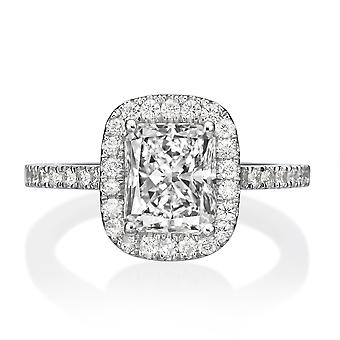 1.5 Carat G VS1 Diamond Engagement Ring 14K White Gold Halo Vintage Micro Pave
