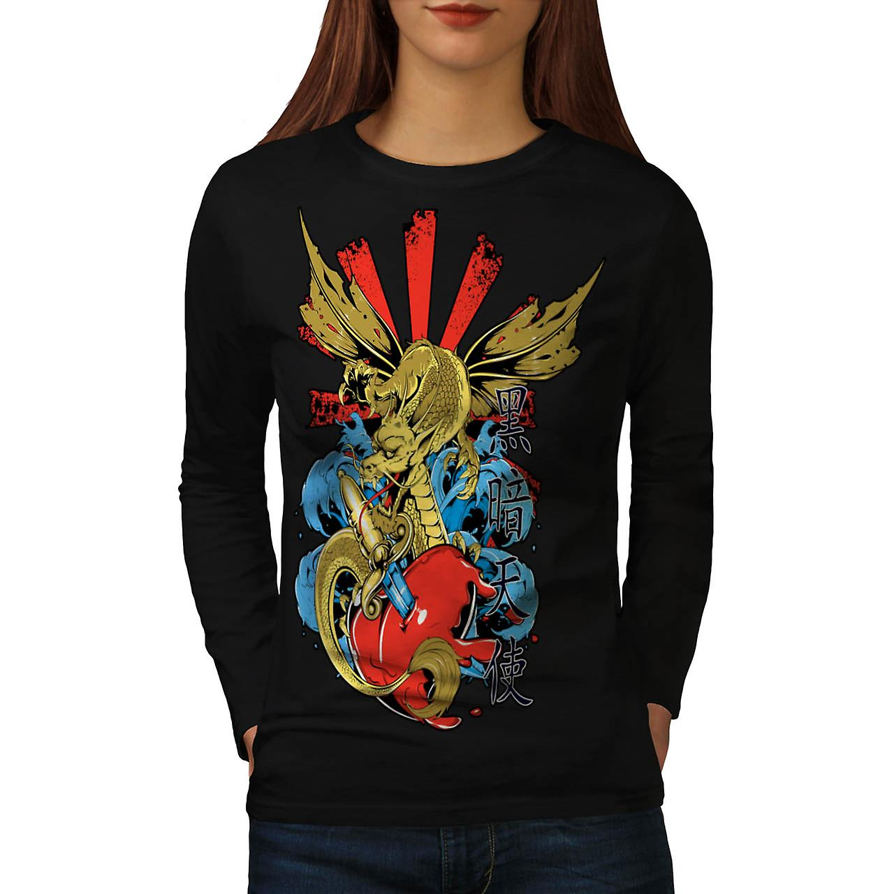 Monstre Dragon Heart Love Hurts T-shirt manches longues noir femme | Wellcoda