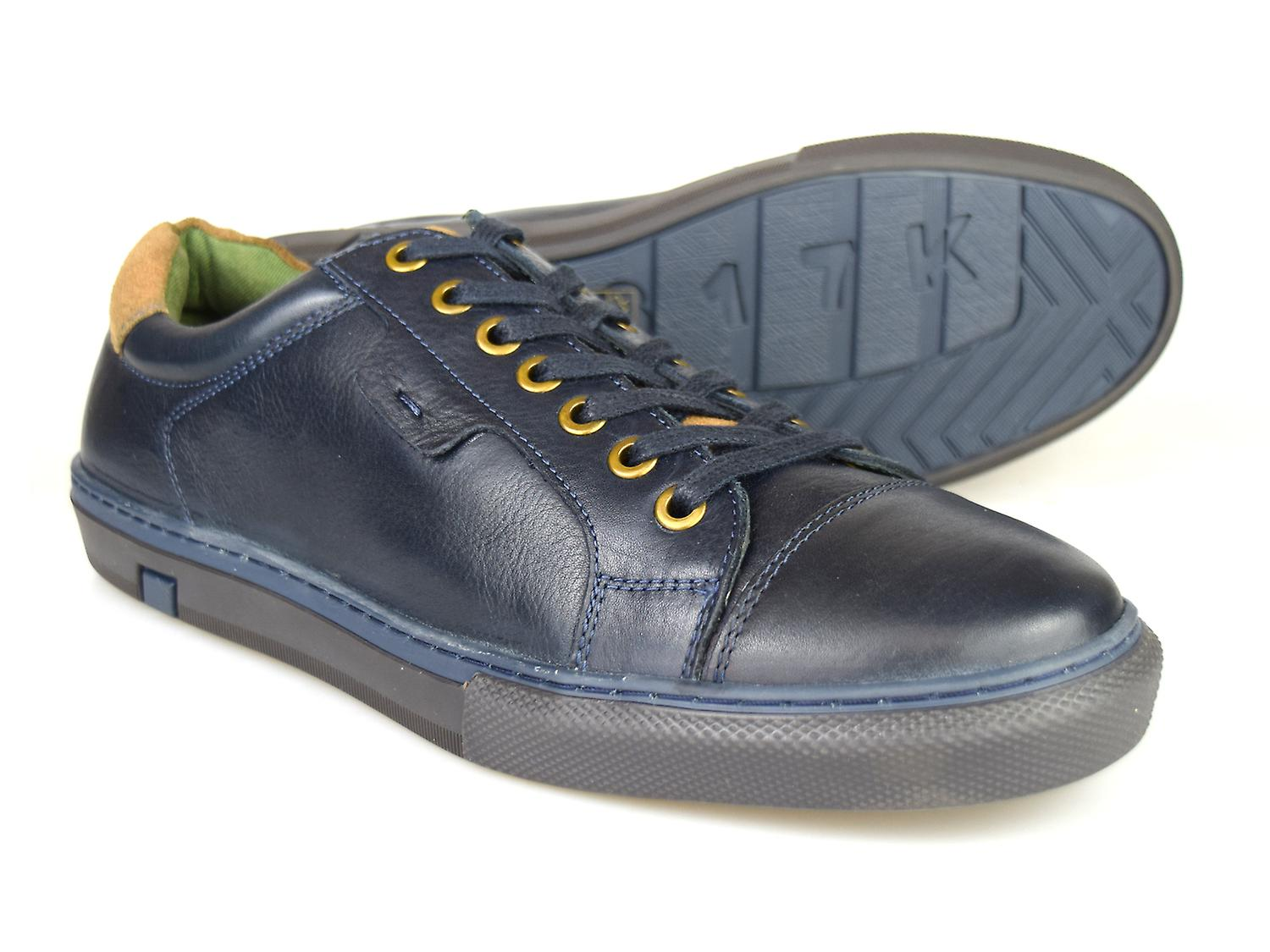 argent Street London Cross Mens Navy Leather Casual chaussures