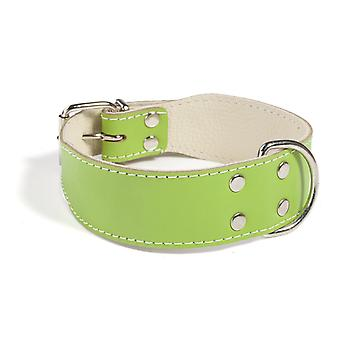 Doggy Things Plain Leather Dog Collar Green 35cm