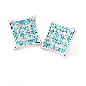 Sterling 925 Silver MICRO PAVE earrings - ICED SKY 12 mm
