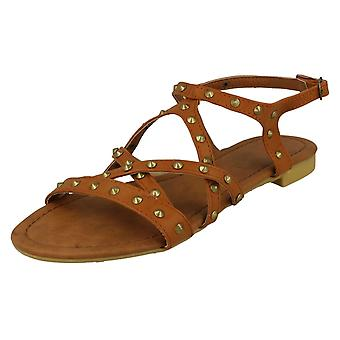 Ladies Spot On Flat Studded X Strap Ankle Buckle Sandals F0672