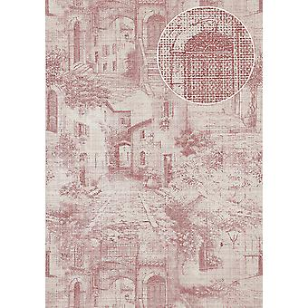 Graphic wallpaper Atlas SIG-975-4 non-woven wallpaper structured in the used look shimmering Red Red-purple perl white grey white 5.33 m2