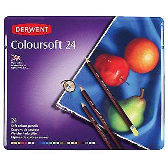 Derwent Coloursoft coloration crayons 24 Tin