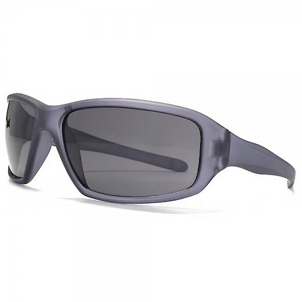 Freedom Polarised Large Rectangle Wrap Sunglasses In Grey