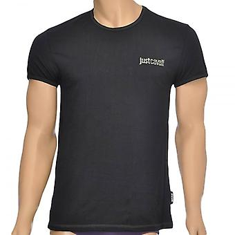 Just Cavalli Cotton Stretch Crew Neck T-Shirt, Black, X-Large