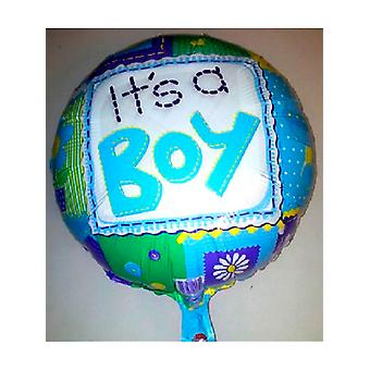 "Foil Balloon 'IT'S A BOY' Blue Rounded Patched 18"" (Requires Helium)"