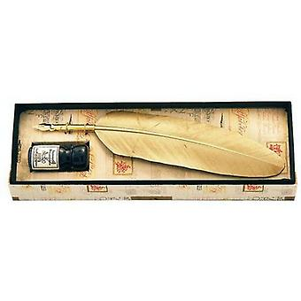 Coles Calligraphy Small Feather Quill and Ink Set - Gold