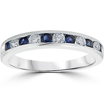3/4ct Blue Sapphire & Diamond Channel Set Ring 14K White Gold