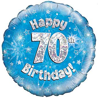 Oaktree 18 Inch Happy 70th Birthday Blue Holographic Balloon