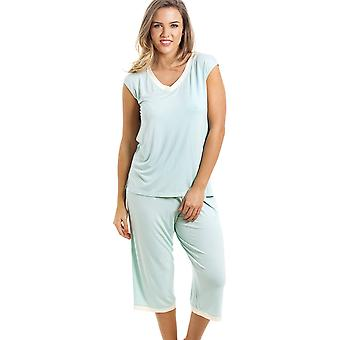 Camille Stylish Cropped Leg Sleeveless Mint Green Pyjama Set