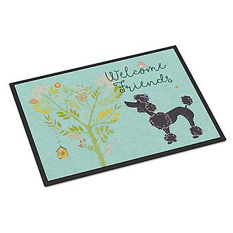 Welcome Friends Black Poodle Indoor or Outdoor Mat 24x36