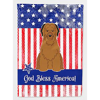 Carolines Treasures  BB3077CHF Patriotic USA Briard Brown Flag Canvas House Size
