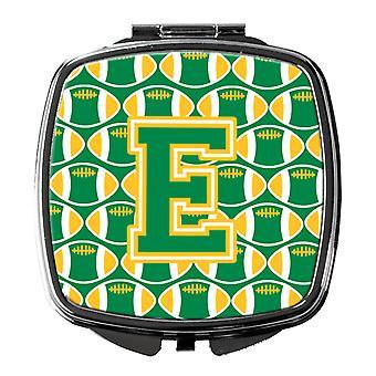 Carolines Treasures  CJ1069-ESCM Letter E Football Green and Gold Compact Mirror