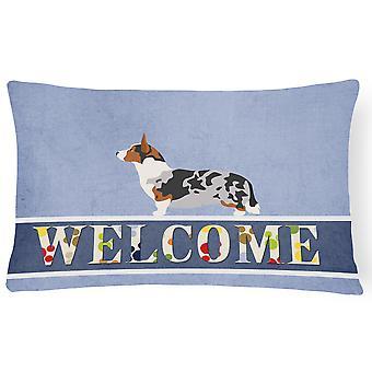 Welsh Corgi Cardigan Welcome Canvas Fabric Decorative Pillow