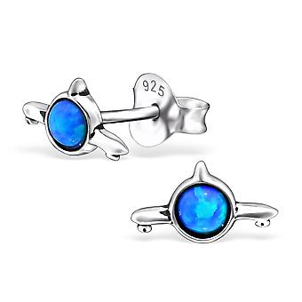Plane - 925 Sterling Silver Opal and Semi Precious Ear Studs