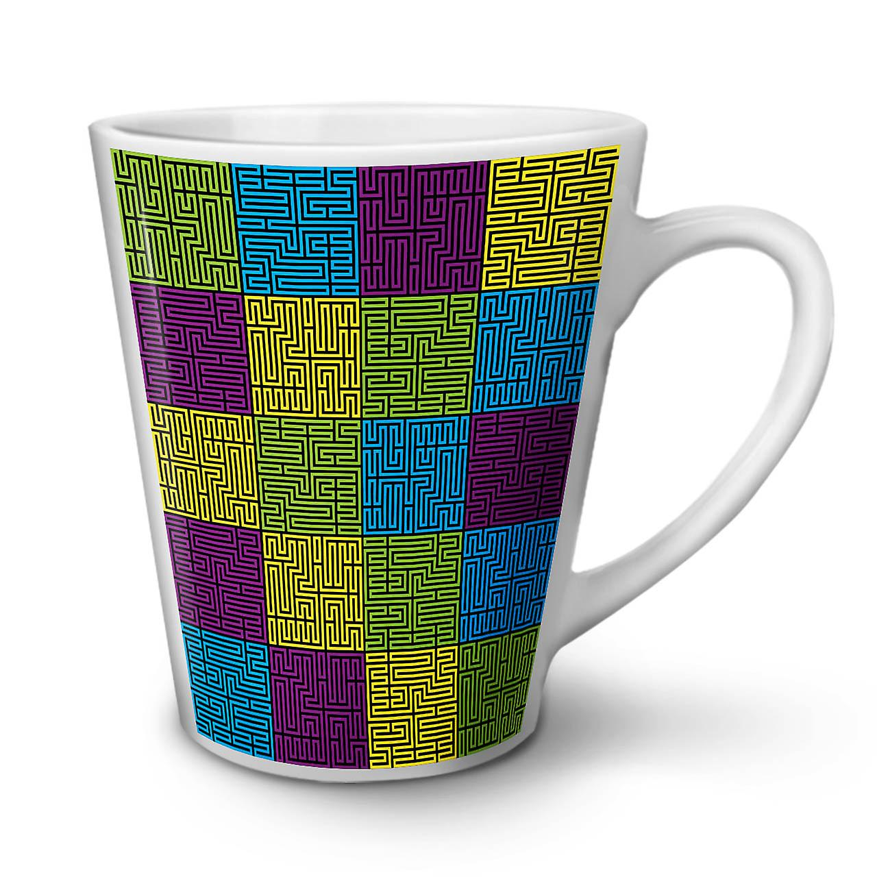 Labyrinthe Blanc En Café Tasse De Thé Latte Géométrique OzWellcoda Nouvelle 12 Céramique SUMzpV