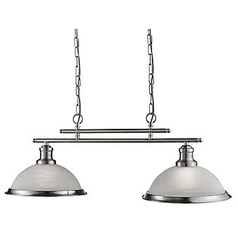 Bistro Satin Silver Two Light Pendant On Bar With Acid Glass - Searchlight 2682-2ss