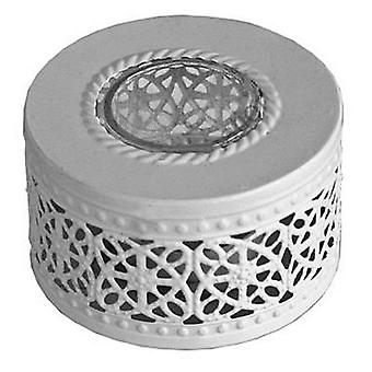 Lace - Filigree Ceramic And Glass Round Tea Light Holder - White