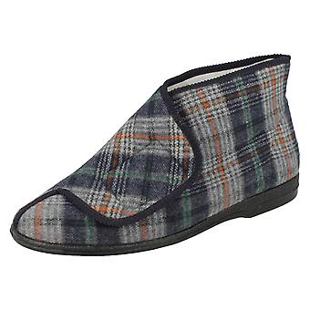 Mens Balmoral Patterned Slipper Boot - Navy Textile - UK Size 8 - EU Size 42 - US Size 9