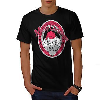 Angry Santa Christmas Men BlackT-shirt | Wellcoda