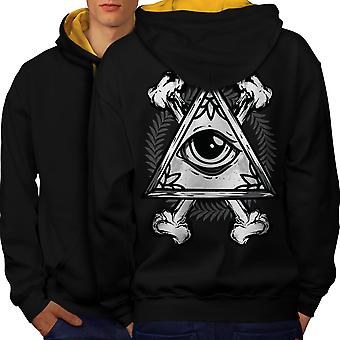 Triangle Eye Men Black (Gold Hood)Contrast Hoodie Back | Wellcoda