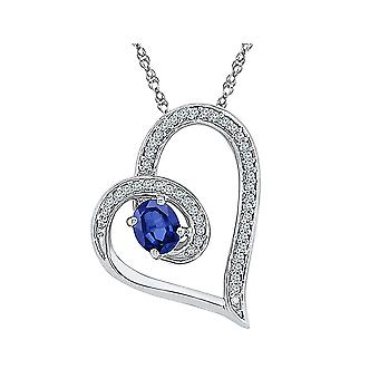 Lab Created Blue Sapphire Heart Pendant Necklace 1/2 Carat (ctw) in Sterling Silver