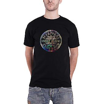 The Beatles T Shirt Sgt Pepper Lonely Hearts Foil Print Official Mens New Black