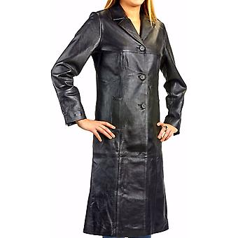 Ladies Matrix Black Long Leather Coat