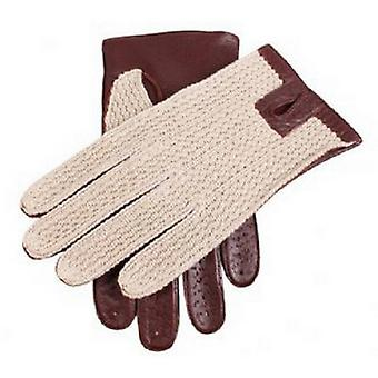 Dents Cotton Crochet Back Driving Gloves - English Tan