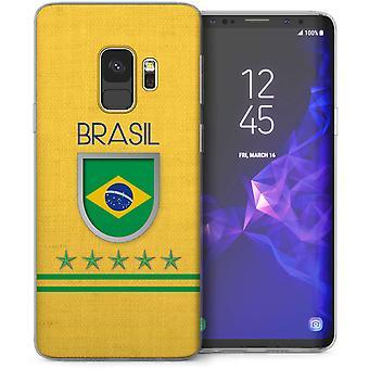 Samsung Galaxy S9 Retro Brazil Flag Football TPU Gel Case – Yellow