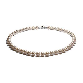 Necklace Ras of the neck woman pearls of water soft white and Silver 925