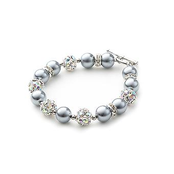 1 rank in pearls silver bracelet, Crystal and Rhodium plate