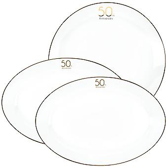 50th Anniversary Ceramic Party Dinner Plates Set with Metallic Gold Trim