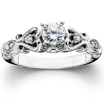3/8 CT ビンテージ ダイヤモンド婚約指輪 14 K ホワイトゴールド