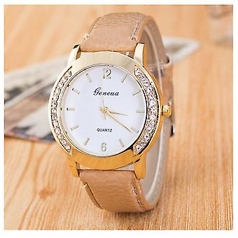 Gold Geneva Beige Watch Ladies Girls Fashion Watches
