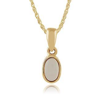 Gemondo 9ct giallo oro con cornice ovale 0,15 ct opale ciondolo catena