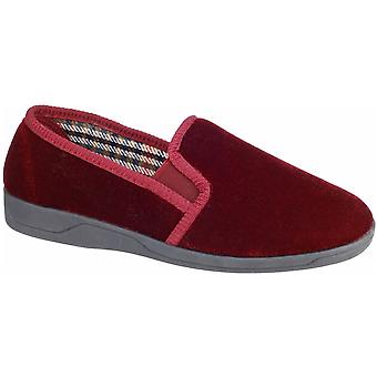 Mirak Mens Andy Slip On Gusseted Soft Padded Velvet Slipper Red