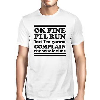 Run Complain Mens White Funny Gym Shirt Workout T-Shirt Gym Gifts