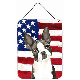 愛国心が強い米国ボストン テリア壁やプリントにぶら下がってドア